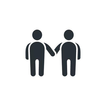 flat vector image on white background, icon of people shaking hands Ilustração