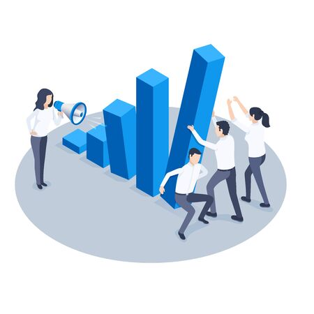 isometric vector image on a white background, business people hold falling chart columns and a woman with a loudspeaker, economic instability