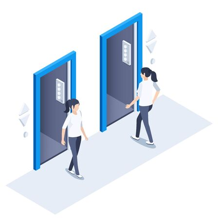 Isometric vector image on a white background, a woman enters the elevator and another goes, an elevator in the office