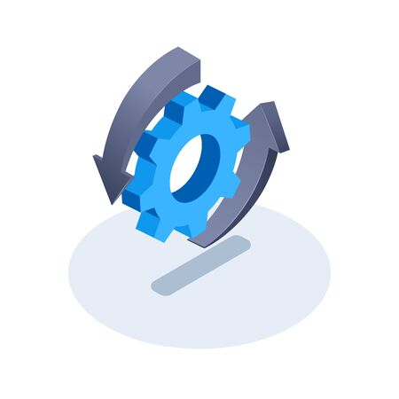 isometric vector image on a white background, gear icon with arrows around it