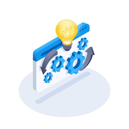 isometric vector image on a white background, gears web page icon and glowing light bulb, idea generation