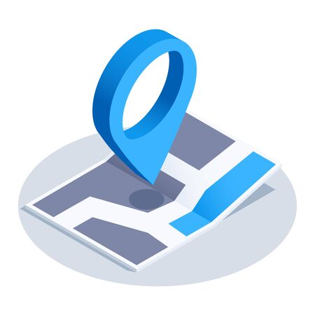 isometric vector image on a white background, map icon with a location icon Ilustração