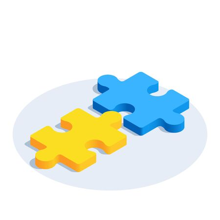 isometric vector image on a white background, icon of puzzle pieces