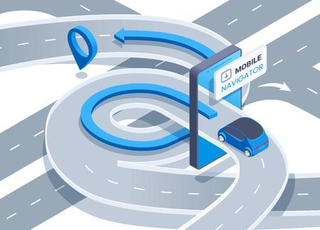 isometric vector image on a white background, road junction passing through the screen of a smartphone and a car driving to a location sign, mobile navigator Ilustração