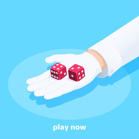 isometric vector image on a blue background, a male hand in a white glove holds red dice, play now