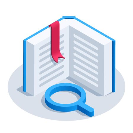 isometric vector image on a white background, open book icon with a red bookmark and magnifier icon, reading books