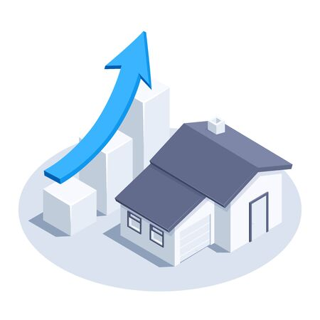 isometric vector image on a white background, a rising chart icon with a blue arrow and a house, real estate market