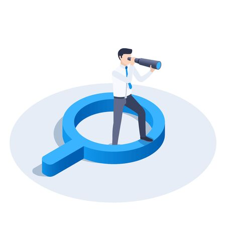isometric vector image on a white background, a man in business clothes looking through a telescope while standing on a magnifier, search for solutions