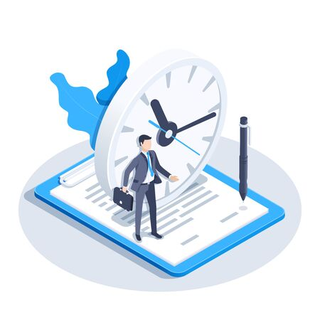isometric vector image on a white background, a man in a business suit stands on a document near the clock, temporary contract
