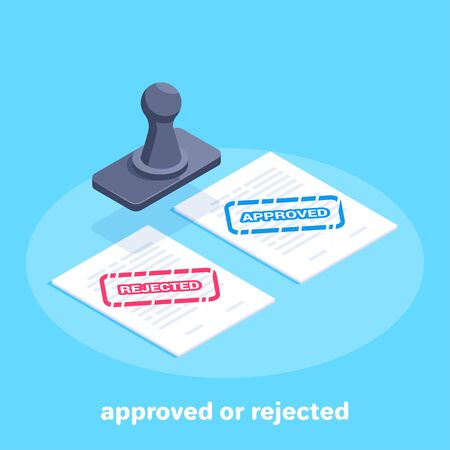isometric vector image on a blue background, sheets of paper marked approved and rejected and stamp