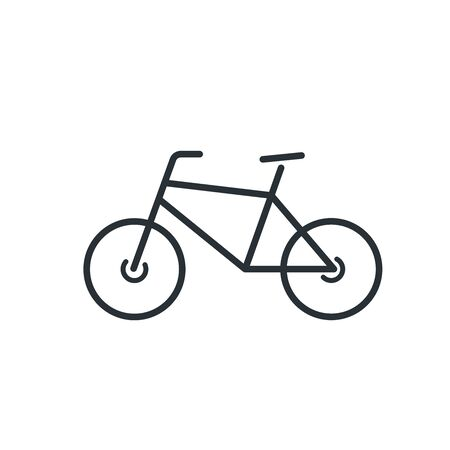 flat vector image isolated on white background, bicycle linear icon