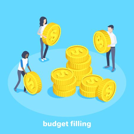 isometric vector image on a blue background, people with golden coins stack them in piles, filling the budget Ilustração