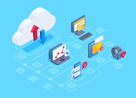 isometric vector image on a blue background, cloud icon with up and down arrows, smart devices and computers transmitting data for storage in the cloud