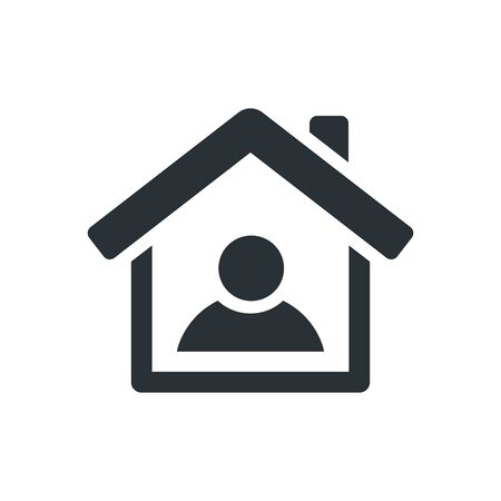flat vector image on white background, house icon with person inside, home isolation