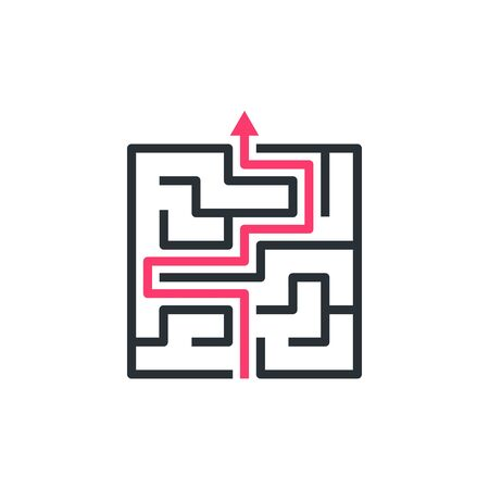 flat vector image on white background, maze icon with red arrow
