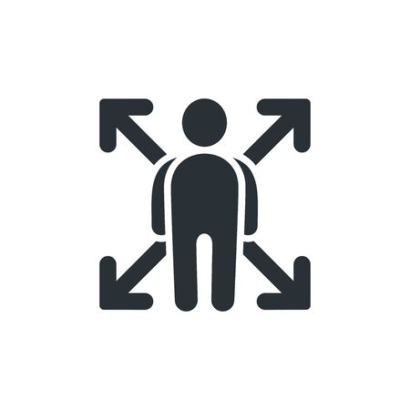 flat vector image on white background, opportunity icon in the form of a man and four arrows