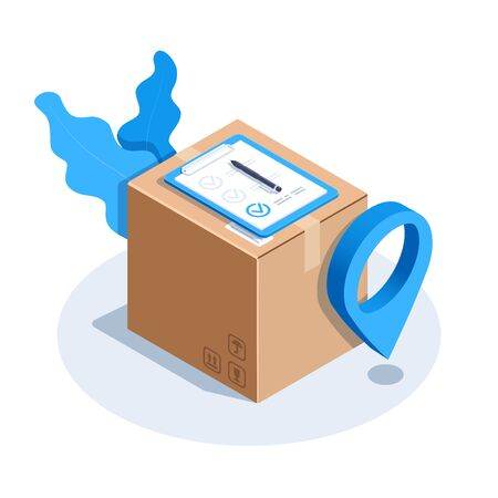isometric vector image on a white background, the location icon next to the box and a document confirming the delivery of the parcel Illusztráció