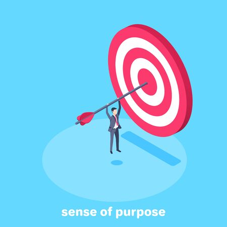 isometric vector image on a blue background, a man in a business suit hanging on an arrow that sticks out of the target, sense of purpose Ilustração