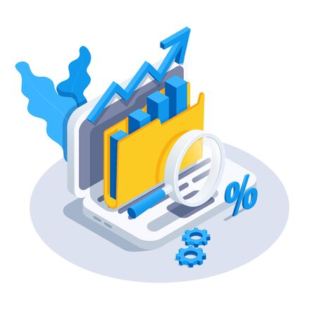 isometric vector image on a white background, a laptop icon with a folder and a magnifier, the collection and processing of analytical and statistical data Illusztráció