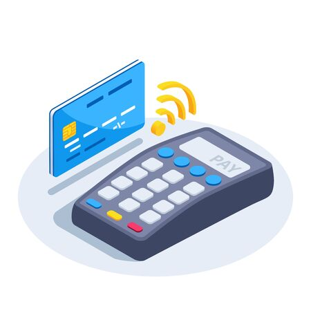 Isometric vector image on a white background, payment terminal icon and credit card