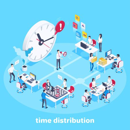 isometric vector image on a white background, watches and people working in the office, time distribution
