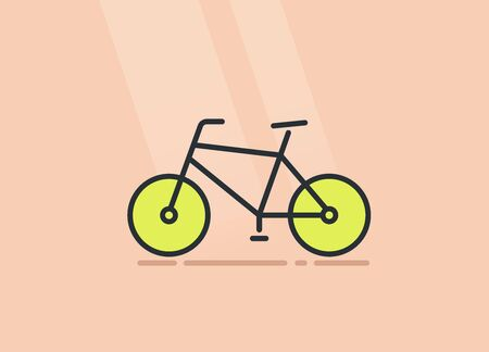 flat vector image on a beige background, bicycle linear icon