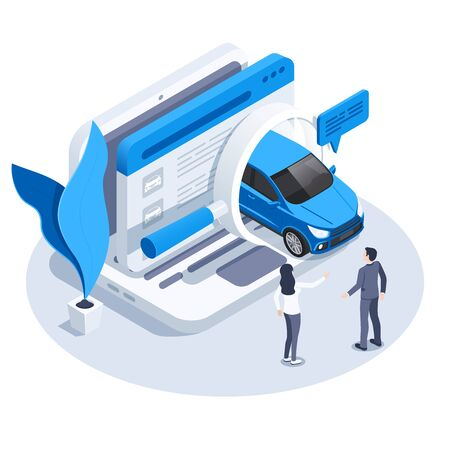 isometric vector image on a white background, a laptop icon and a car driving out of a magnifier, a man and a woman choose a car to buy online Illusztráció
