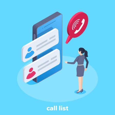 isometric vector image on a blue background, a woman stands near a smartphone on the screen of which a list of calls is displayed