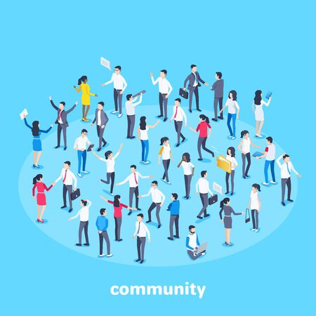 isometric vector image on a blue background, people in business suits are grouped in contact with each other, social groups or community