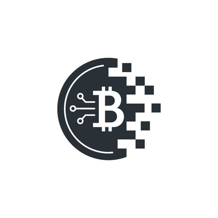 flat vector image on a white background, bitcoin cryptocurrency icon