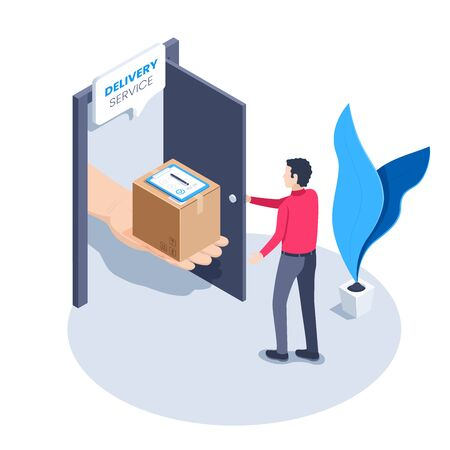 isometric vector image on a white background, a man in a red shirt stands in front of an open door in which a hand with a box and a delivery document is stuck, delivery service
