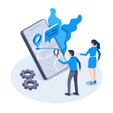 isometric vector image on a white background, a man in business clothes with a magnifying glass and woman looks at a map on a smartphone screen, location and geolocation