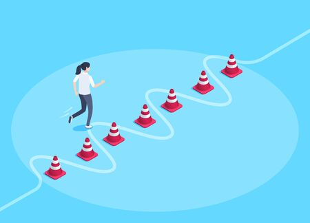 isometric vector image on a blue background, a woman runs along a given trajectory between road chips, business training