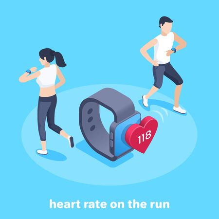 isometric vector image on a blue background, a man and a woman with a smart watch are running tracking their pulse, heart rate on the run