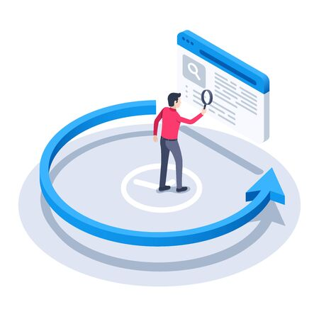 isometric vector image on a white background, a man with a magnifying glass looks at the application history and the arrow going counterclockwise Illusztráció