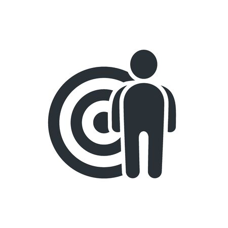flat vector image on white background, icon man near the target Illustration