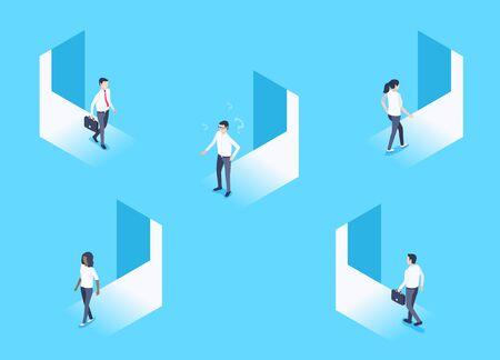isometric vector image on a blue background, men and women enter and exit the open doorways Illusztráció