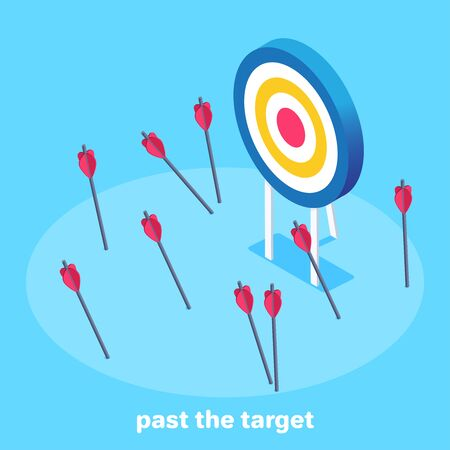 isometric vector image on a blue background, target and arrows not falling into it, past the target Ilustração