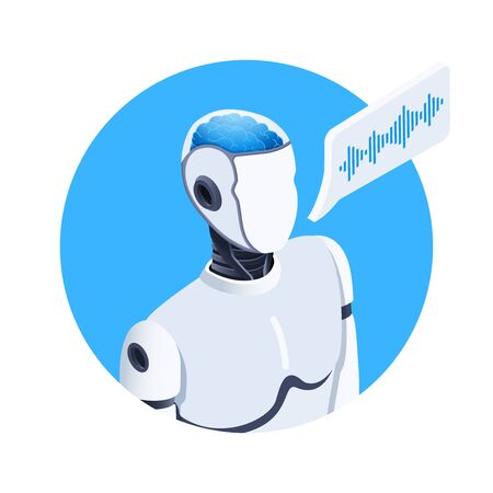 isometric vector image on a white background, round icon of a talking robot with artificial intelligence