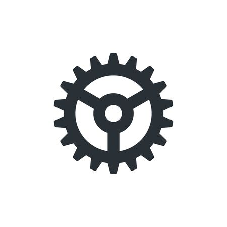 flat vector image on white background, gear icon Illustration