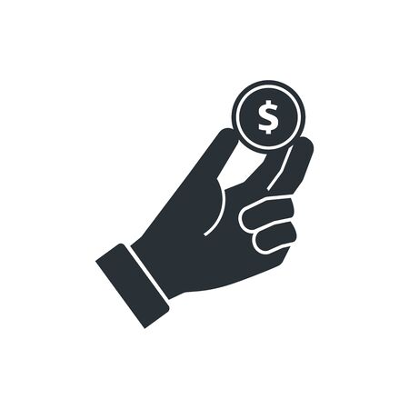 flat vector image on white background, icon hand holds a coin with a dollar icon