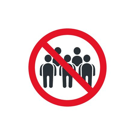 flat vector image on white background, icon of prohibitory sign and group of people, social distance, meeting ban icon Ilustração