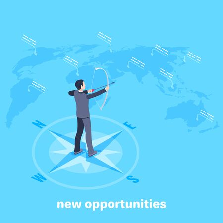 isometric vector image on a blue background, a man in a business suit with a bow and arrow stands on a compass near the world map, new opportunities Illustration
