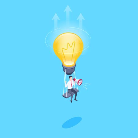 isometric vector image on a blue background, a man in a business suit with a loudspeaker hanging on a light bulb, promotion