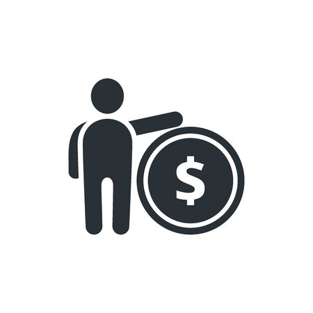 flat vector image on white background, icon of a man with a coin, receiving money