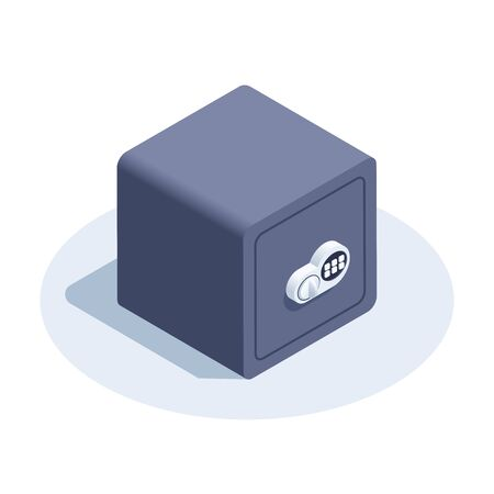 isometric vector image on a white background, safe icon with an electronic combination lock