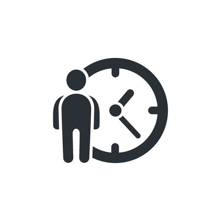flat vector image on white background, icon of a man next to the clock, time management