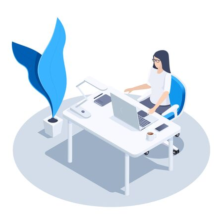 isometric vector image on a white background, a woman with glasses sitting at her desk, workplace Illusztráció