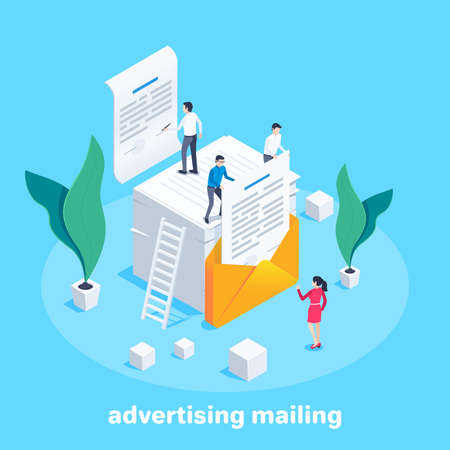isometric vector image on a blue background, people on a stack of letterheads put a sheet of letterhead in an envelope, advertising mailing