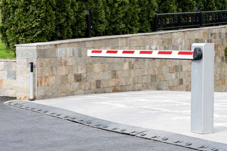 Underground parking entrance barrier Stock Photo